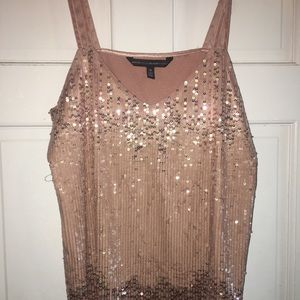 Sz M White House Black Market sequined top NWT